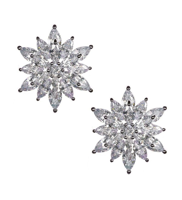 Samky Jewelry Starburst Flower Brilliant Marquise CZ Crystals Stud Earrings with Gift Box - CV12O8DRDYD