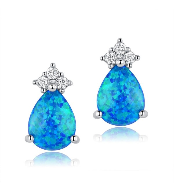 OPALTOP Platinum Plated Teardrop 6x8mm Blue fire Opal 3 Cubic Zirconia Stud Earrings - CI189HO8ELI