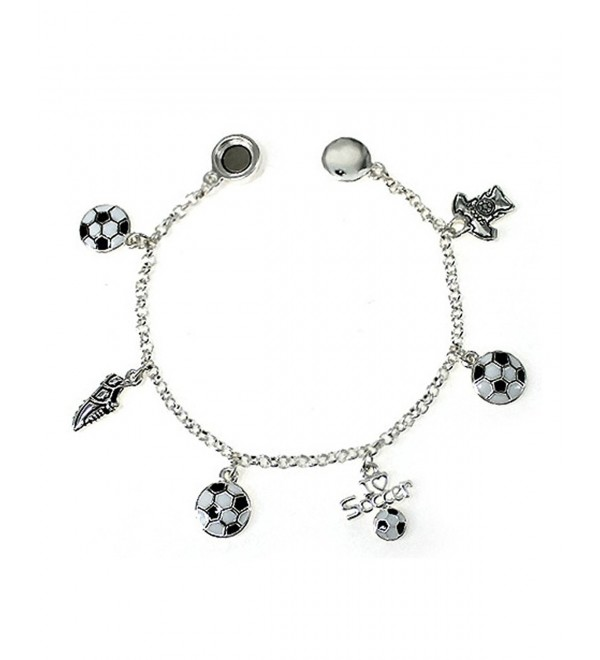Silver-tone White and Black Soccer Theme Charm Bracelet by Jewelry Nexus Shoe T-shirt I Love Soccer - CI11NKIWNNN