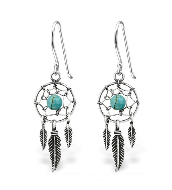 925 Sterling Silver Hypoallergenic Dream Catcher & Dangling Feathers w/ Turquoise Fishhook Earrings 30827 - C312O7K9GSI