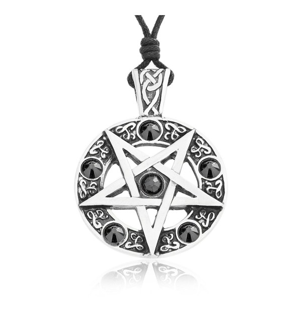 Dan's Jewelers Inverted Pentagram Pentagram Necklace + Silver Plated Clasp- Fine Pewter Jewelry - CV12NGHSPT3