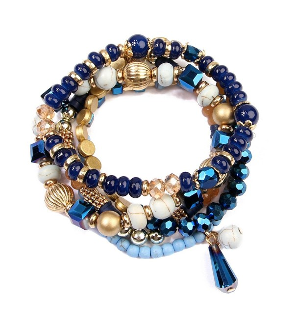 Riah Fashion Women's Multi Beaded Stretch Bracelet Set for Her - Navy - CN17AZLNWUW