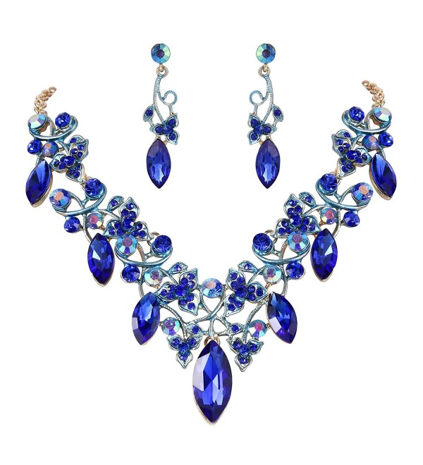 BriLove Bohemian Statement Necklace Gold Tone - Royal Blue Gold-Tone - CF187I39CM7