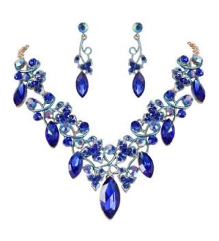 BriLove Bohemian Statement Necklace Gold Tone - Royal Blue Gold-Tone - CF187I39CM7