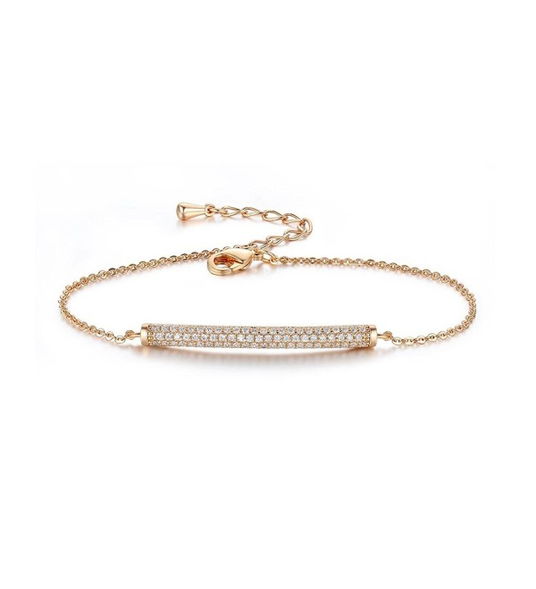 SHINCO Bella Lotus 18k Gold Plated Bar CZ Diamond Adjustable Charm Bracelet Fashion Jewelry- 2 Colors - Gold - C512KVOSRE7