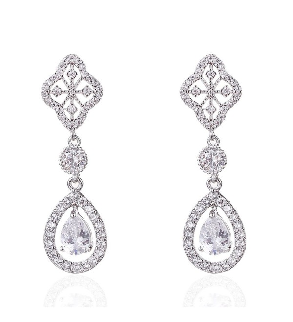 Wordless Love Rhodium Plated Brass Pear Shaped Cubic Zirconia Teardrop Bridal Wedding Dangle Earrings White - CJ12M9NDTMX