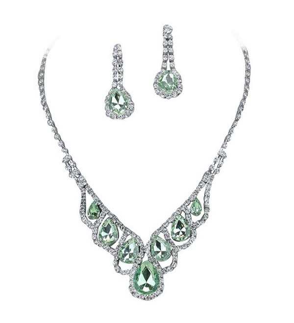 Light Green Elegant Droplets Rhinestone Prom Bridesmaid Evening Necklace Set Silver Tone T7 - CO11VB7ML87
