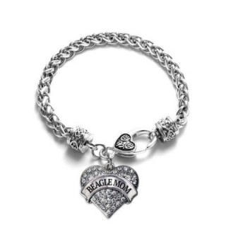 Beagle Mom Pave Heart Charm Bracelet Silver Plated Lobster Clasp Clear Crystal Charm - C8123HZQV27