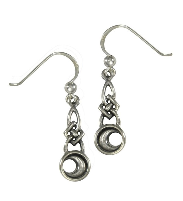 Sterling Silver Celtic Knot Crescent Moon Dangle Earrings - C01190OLVJN