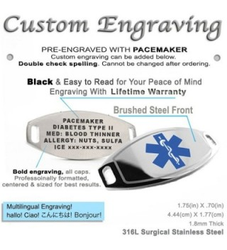 MyIDDr Pre Engraved Customizable Pacemaker Bracelet