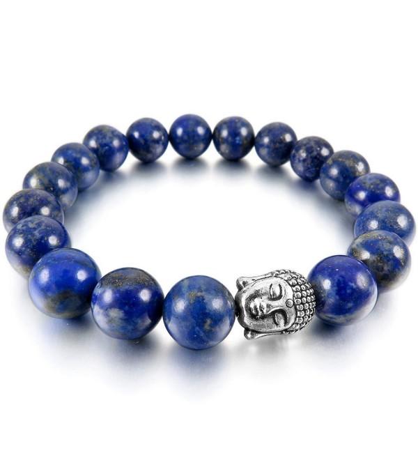 INBLUE Women-Men's 12mm Energy Bracelet Link Wrist Energy Stone Simulated Buddha Mala Bead - 05.blue - CH11W6AWX6H