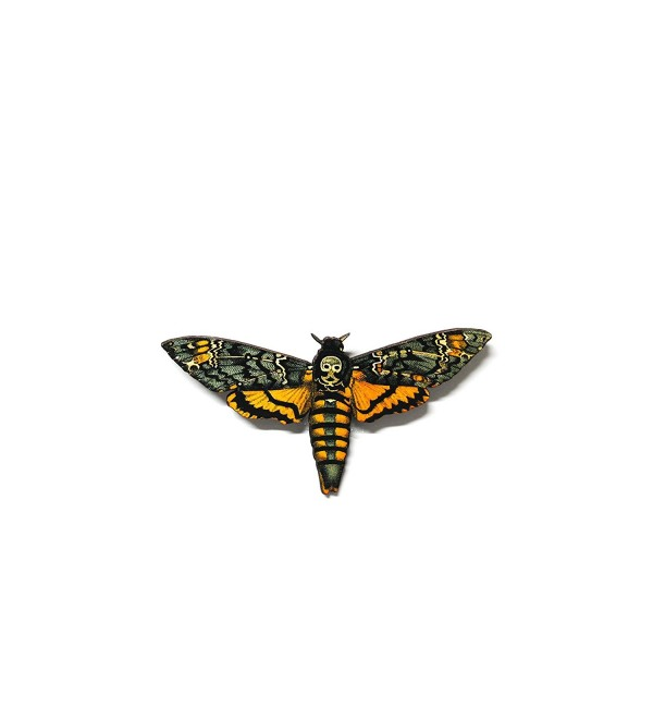Yellow Death Head Moth Wooden Pinback Brooch - C512IZMMBD5