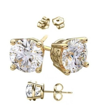 14 Karat Gold Cubic Zirconia Stud Earrings.1.00 Carat Total Weight Half a Carat Each Stone. - CR11C5366JV
