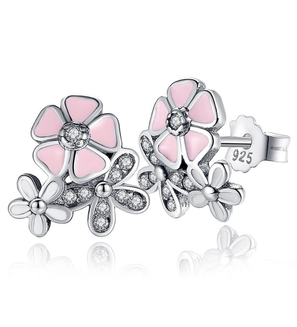 Sterling Silver Cubic Zirconia Daisy Flower Stud Earrings By Presentski - CI17YCIYDAH