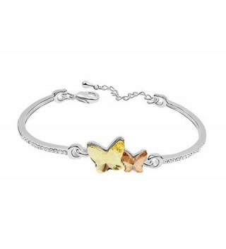 Acefeel White Gold Plated Made with Swarovski Element Crystal Butterfly Bracelet Women's Jewerly B041 - Yellow - CR12NRI6N4A