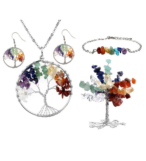 Top Plaza Chakra Crystals Jewelry - 7 Chakra Tree Of Life Set 1 - CM182T88NYR