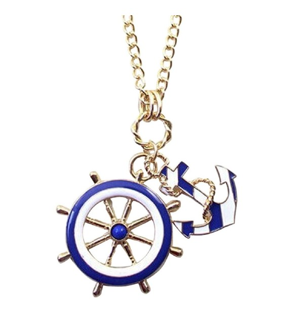Tonsee Navy Blue Wind Anchor Pendant Necklace New - CK12202ULXD