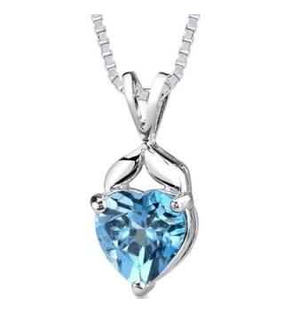 Swiss Blue Topaz Pendant Necklace Sterling Silver 3.00 Carats Heart Shape - CQ11FJLXAP3