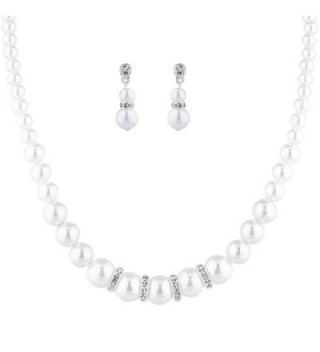 Lux Accessories Silvertone Faux Pearl Necklace Earrings Special Occasion Set 2PC - CS1867M0406
