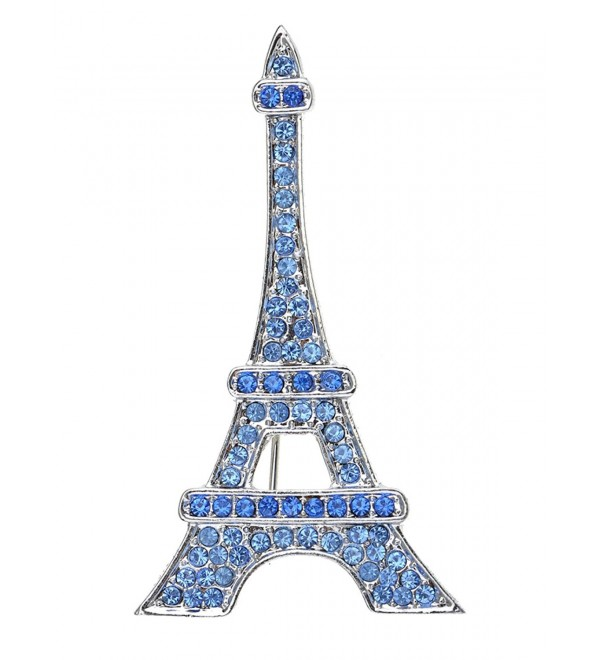 Alilang Silvery Tone Plated Synthetic Sapphire Blue Paris Eiffel Tower Fashionable Jewel Pin Brooch - Blue - C8113AGX6I5
