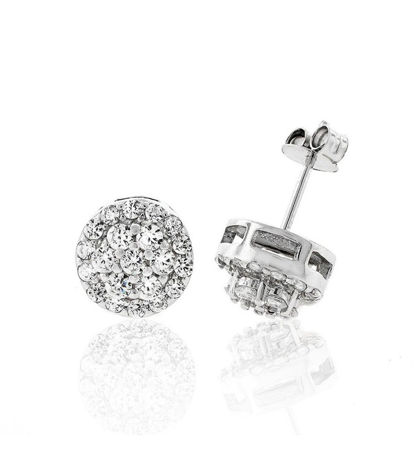.925 Sterling Silver Womens 9mm Flower Halo Cubic Zirconia Stud Earrings - CZ12978KFI9