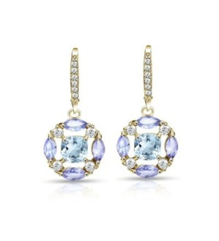 Sterling Silver Blue Topaz- Amethyst and White Topaz Circle Dangle Leverback Earrings - C51853H6EOR