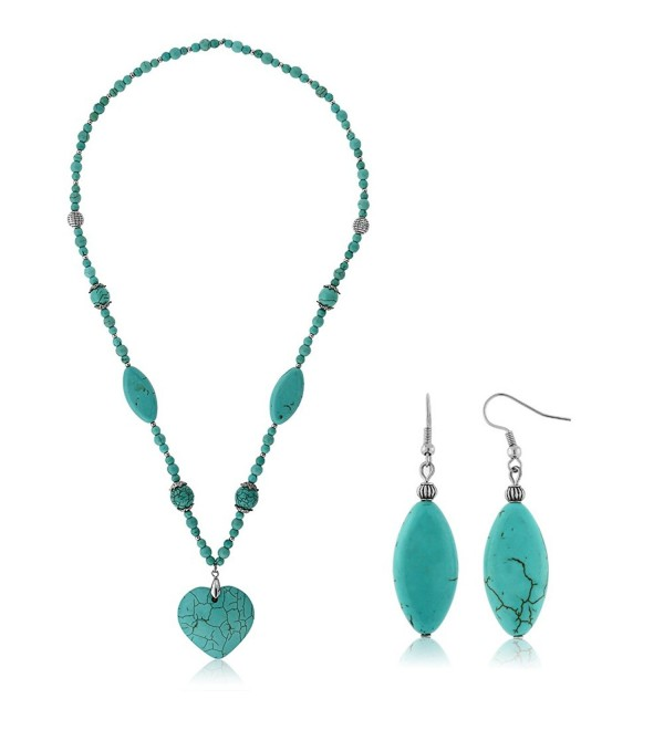 "24"" Simulated Turquoise Howlite Necklace With Heart Shape Pendant & Earring Set - CB11F4AUY21"