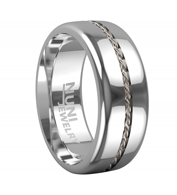 Nuni Jewelry Tungsten Silver Wedding - C712NSTMPFL