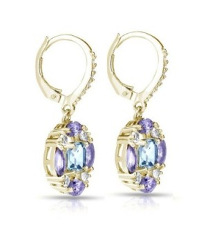 Flashed Sterling Amethyst Leverback Earrings in Women's Drop & Dangle Earrings