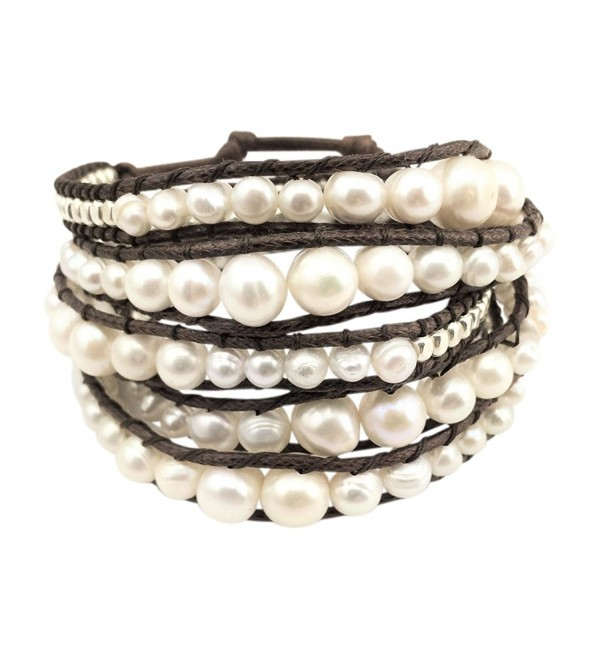 "GingerBird Jewelry ""Marshmallow Wrap"" Women's Freshwater Cultured Pearls Handmade Bracelet. 32 Inches - CJ182LM7RDQ"