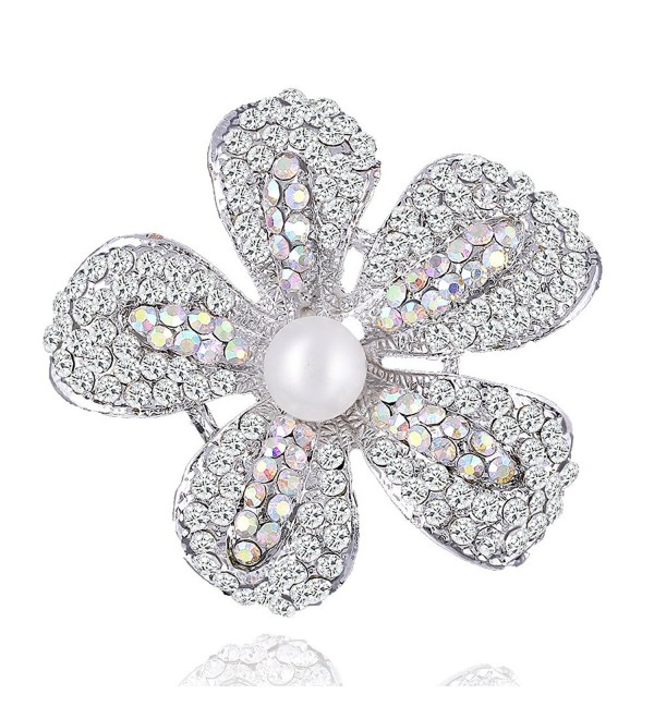 Yilanair Flower Crystal Pearl Brooch Pin for Dress - Silver - C012NT19DR8