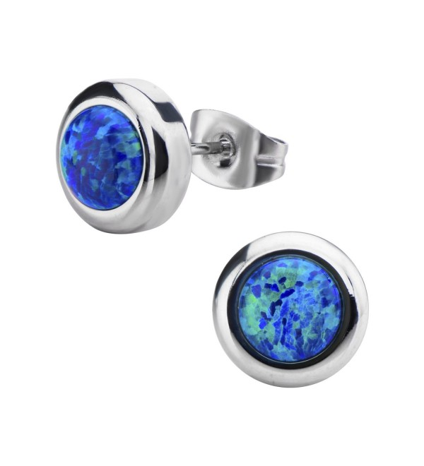 Women's Stainless Steel Bezel Set Black Synthetic Opal Stud Earrings. - CX11WRJUKIL