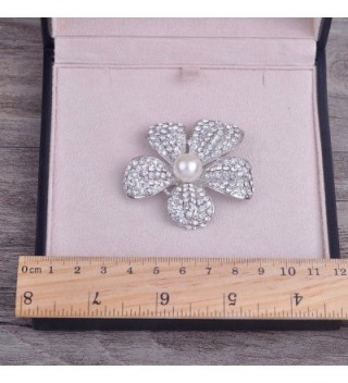 Yilanair Flower Crystal Pearl Brooch in Women's Brooches & Pins