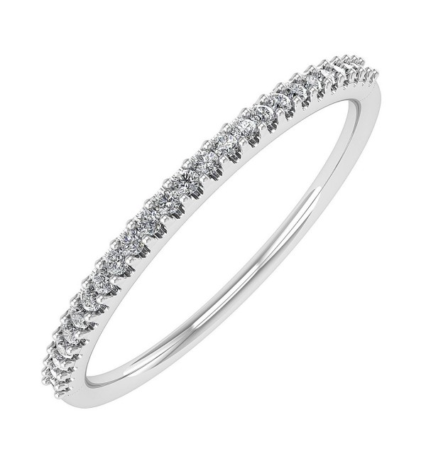 0.07 carat 10k Gold Round Diamond Ladies Anniversary / Wedding stackable Band Ring - IGI Certified - white-gold - CV182IRYAAU