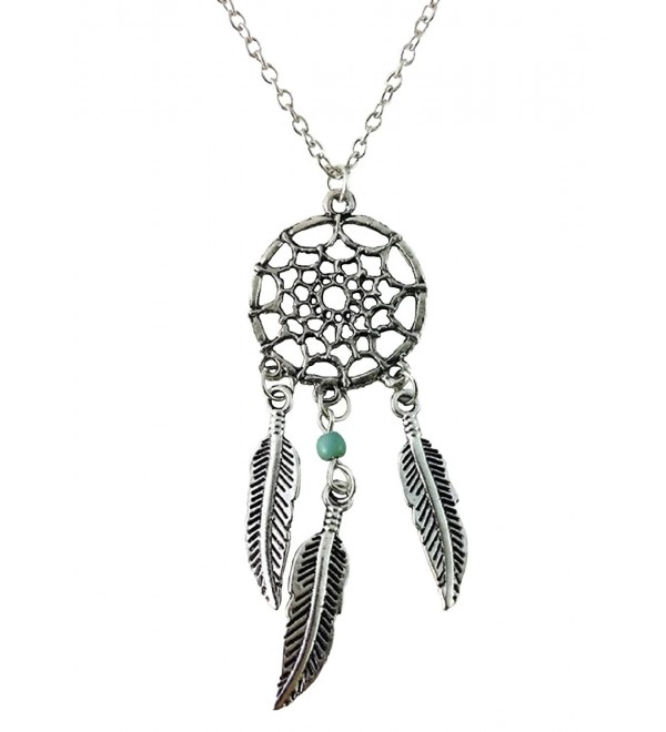 Dastan Dangling Feather & Wings Tassel Turquoise Bead Necklace Bohemia Dream Catcher - CH12O1DKXV7
