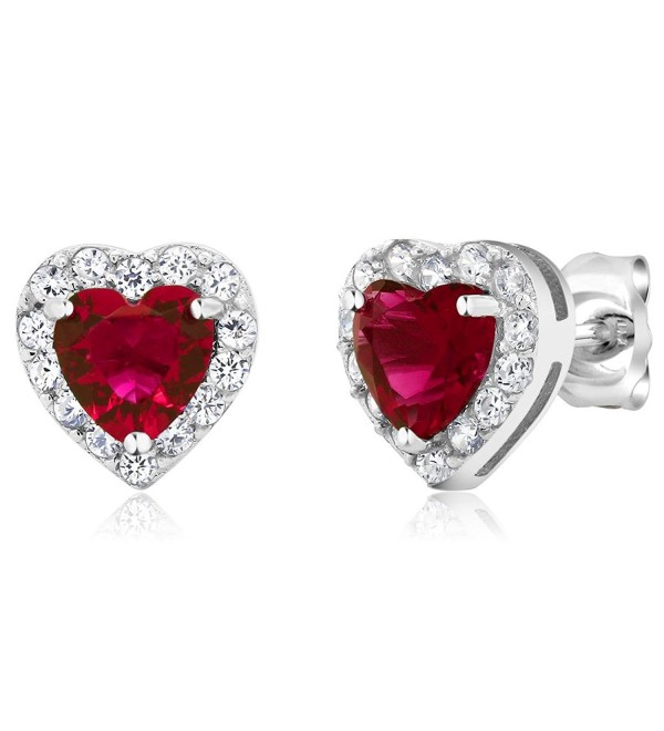 925 Sterling Silver Heart Shape Women's Halo Stud Earrings (2.32 Cttw. 5MM Center Stone) - Ruby Red and White - CF11PHS5OSZ