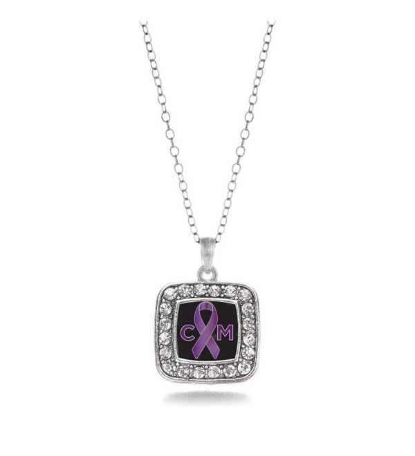 Chiari Malformation Awareness Classic Silver Plated Square Crystal Necklace - CG11KEPGC3R