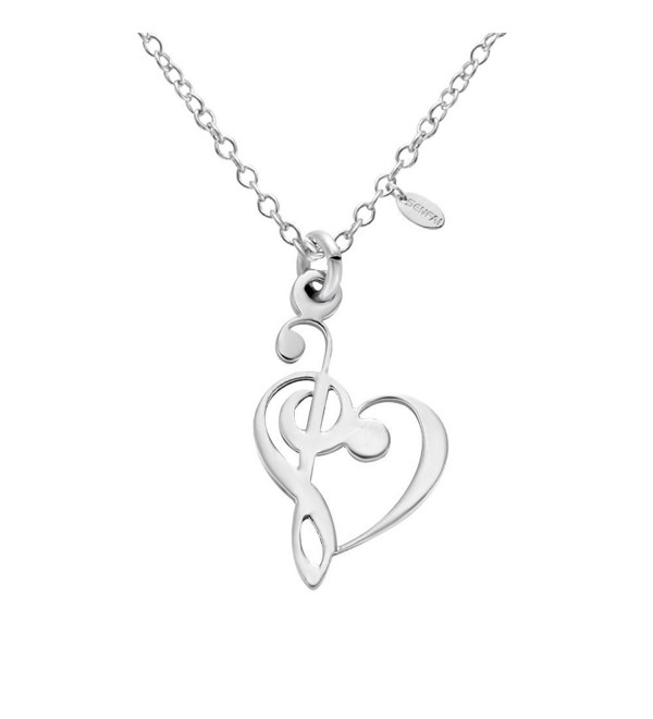 "SENFAI Latest Tiny Music Heart Charm Pendant Stainless Steel Necklaces Unisex Jewelry 18"" - CJ12LWCU9G1"