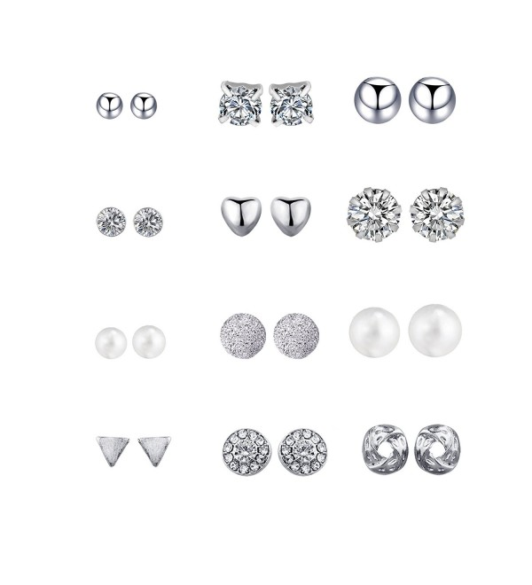 Aikooch 12 Pairs Geometric Crystal Punk Piercing Stud Earrings for Women - 12 Pair Silver - C21840AW7K3