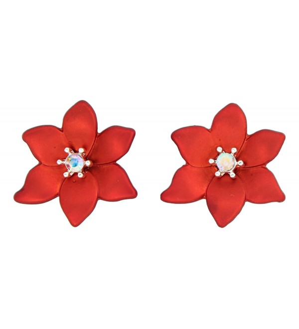 Periwinkle Red Poinsettia with Iridescent Center Stud Earrings - CE126XNA5MV