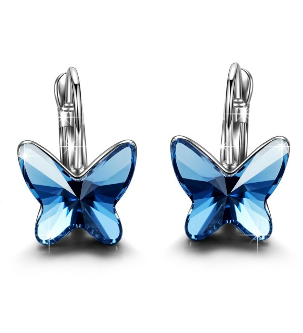 "Brilla Gifts for Women Hoop Earrings Fashion Jewelry Set ""Butterfly Dream"" Swarovski Elements Crystal - Blue - CI129F5E8PP"