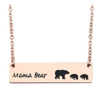 WUSUANED Rose Gold Sweet Mama and Cub Bear Bar Necklace Gift for Mom Grandma Wife - 2 cubs rose gold - C6188E2N7UQ