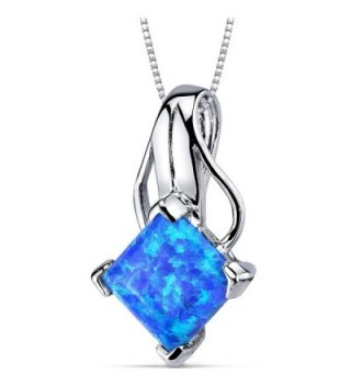 Created Blue-Green Opal Pendant Necklace Sterling Silver Princess Cut 2.00 Carats - C711NK4YGYL