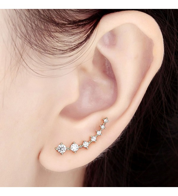 OKAJEWELRY Cubic Zircon Crystal Ear Sweep Cuff Hook Earrings 1 Pair - C411QARE6PD