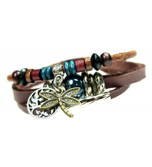 Dragonfly and Tree of Life Three Strand Beaded Leather Zen Bracelet in Gift Box - CD126XN463V