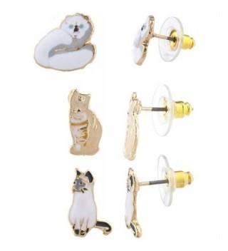 Lux Accessories Gold Tone Assorted Enamel Kitty Cat Post Stud Earring Set 3pc - C6183WWTUL3