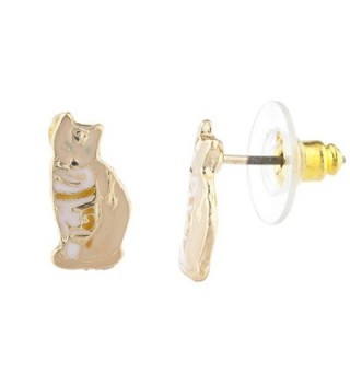 Lux Accessories Assorted Enamel Kitty Earring