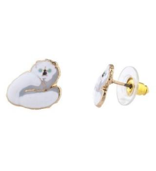 Lux Accessories Assorted Enamel Kitty Earring in Women's Stud Earrings
