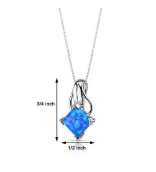 Created Blue Green Necklace Sterling Princess in Women's Pendants