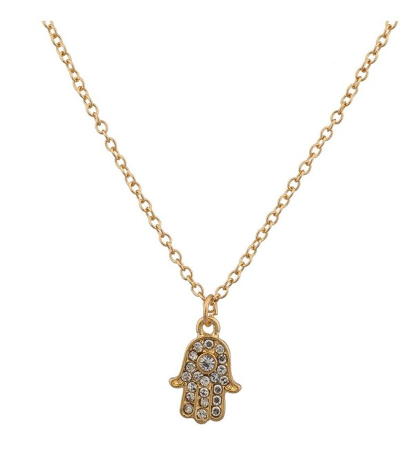 Lux Accessories Simple Delicate Pave Hamsa Evil Eye Pendant Necklace - CQ125BQXK3N